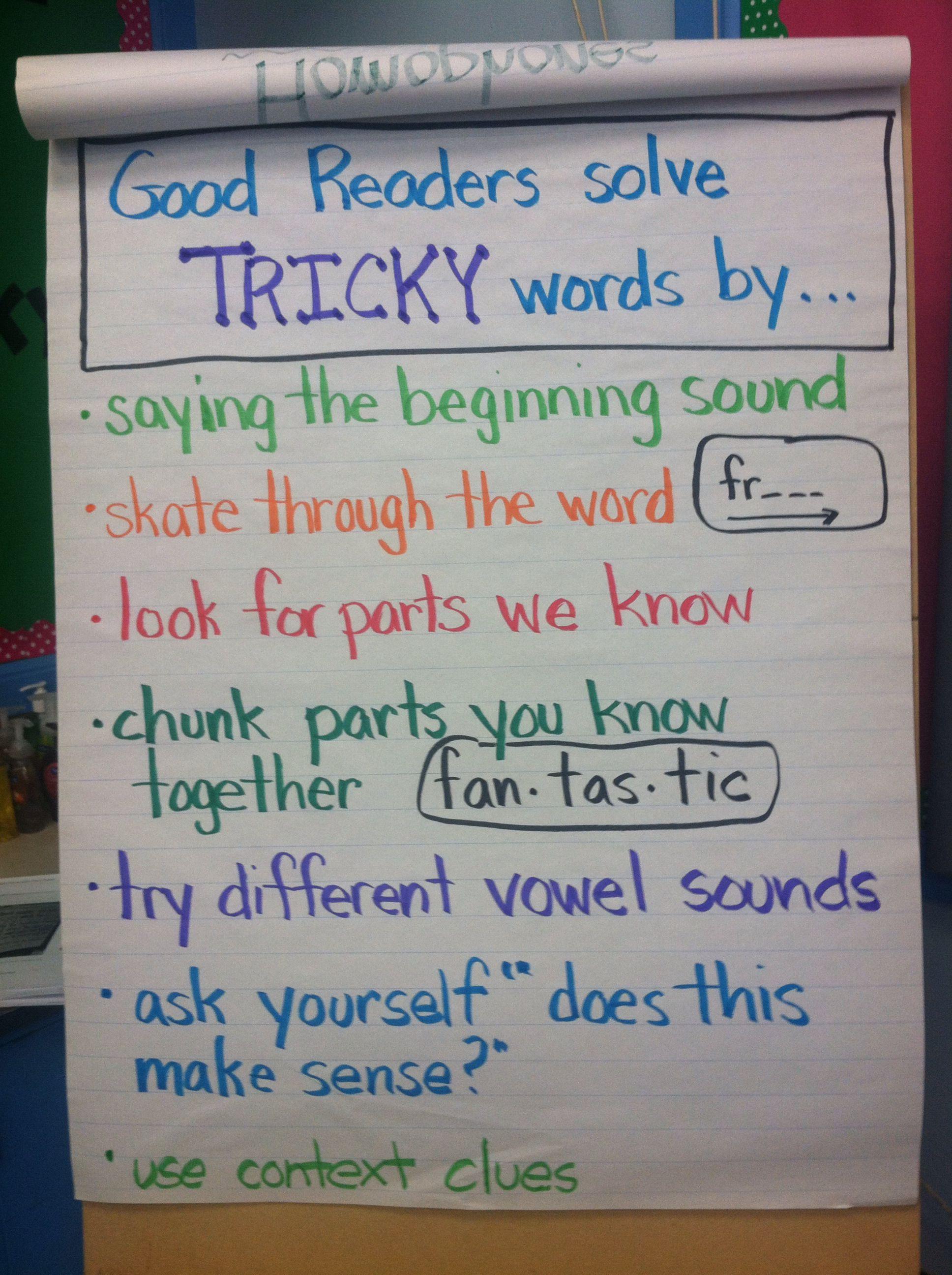 Reading Workshop Tackling Tricky Words