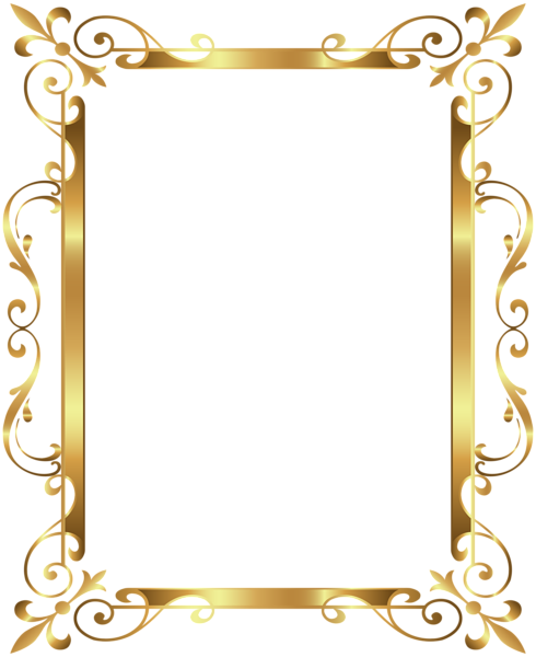 Gold border frame deco transparent clip art image frames - Bulgomme transparent pour table ...