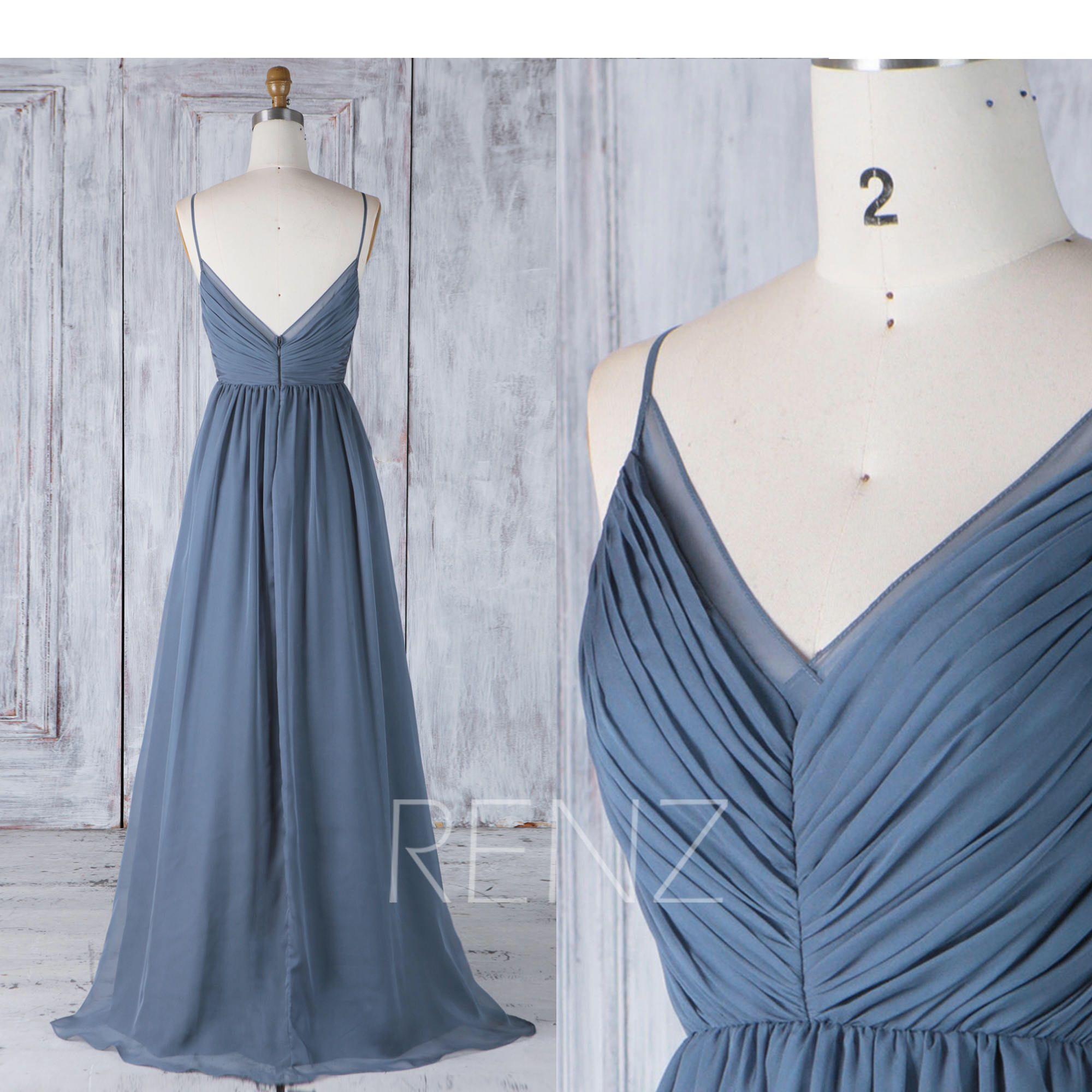 Long Bridesmaid Dress Dark Steel Blue Backless Simple Wedding Dress Chiffon Backless Prom Dress Long (H505A) #dolistsorbooks