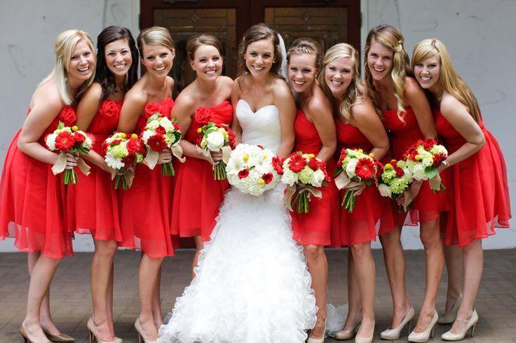 short wedding red bridesmaid dresses