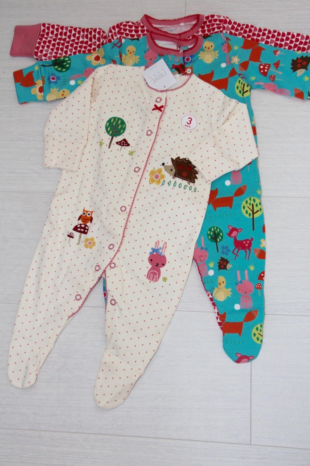 c5f284b35d57 BNWT NEXT 3x baby girls sleepsuits bodysuits with hedgehog appliqué ...