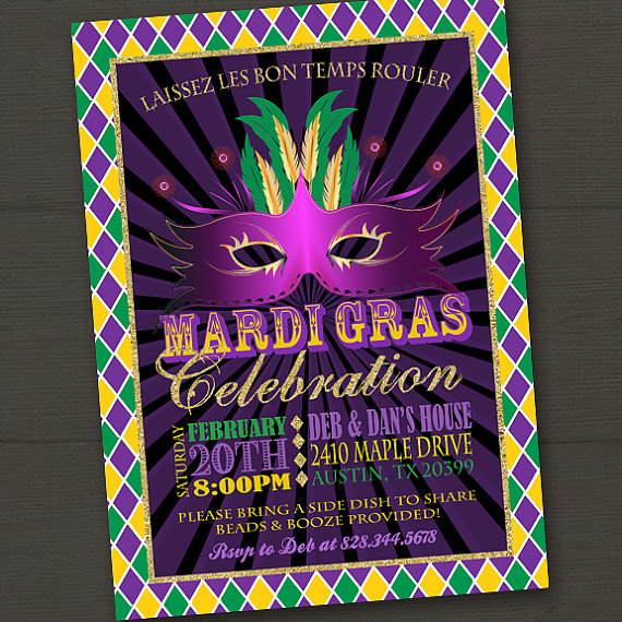 Mardi Gras Invitation Mardi Gras Party Mardi Gras Invitation