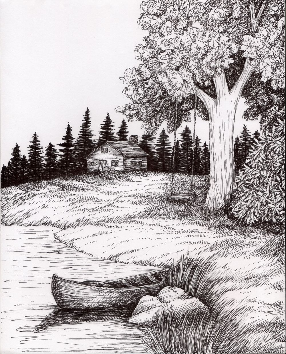 Pen and ink wash landscape pen and ink landscape for Fish scenery drawing