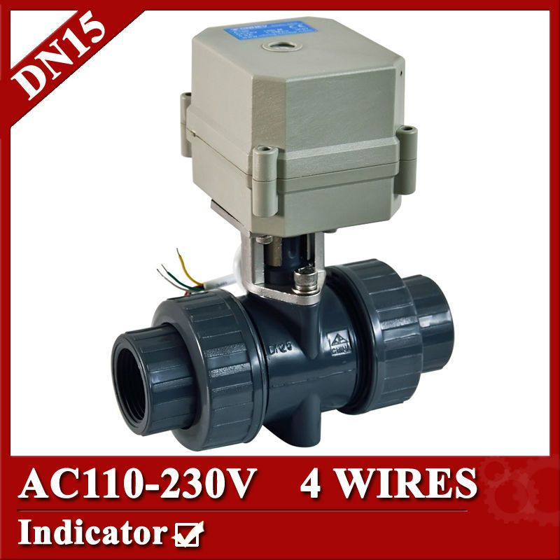1 2 Ac110 230v Plastic Electric Ball Valve 4 Control Wires Cr401 Electric Ball Valve Dn15 Plastic Ball Valve Pvc Valve Electric Water Valve Control Valves
