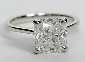 This solitaire engagement ring setting is crafted in platinum.