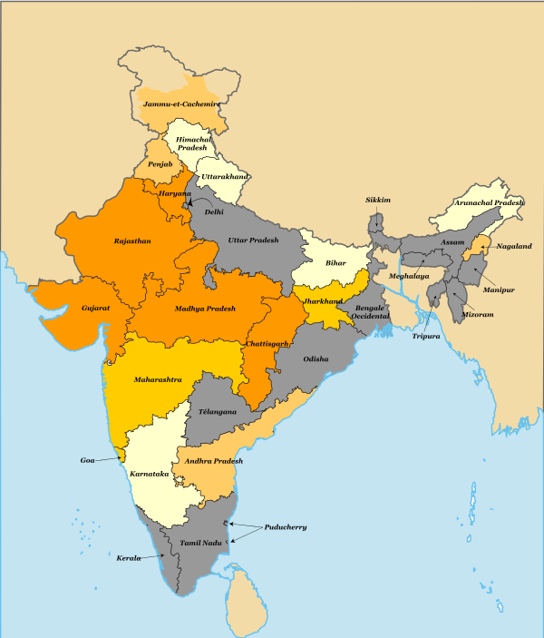 Carte Inde Pakistan.Carte Regions Indiennes Et Vote Bjp Politique Inde