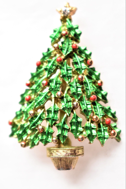 Vintage Enamel Christmas Tree Brooch Holiday Coat Sweater Blazer Pin ...