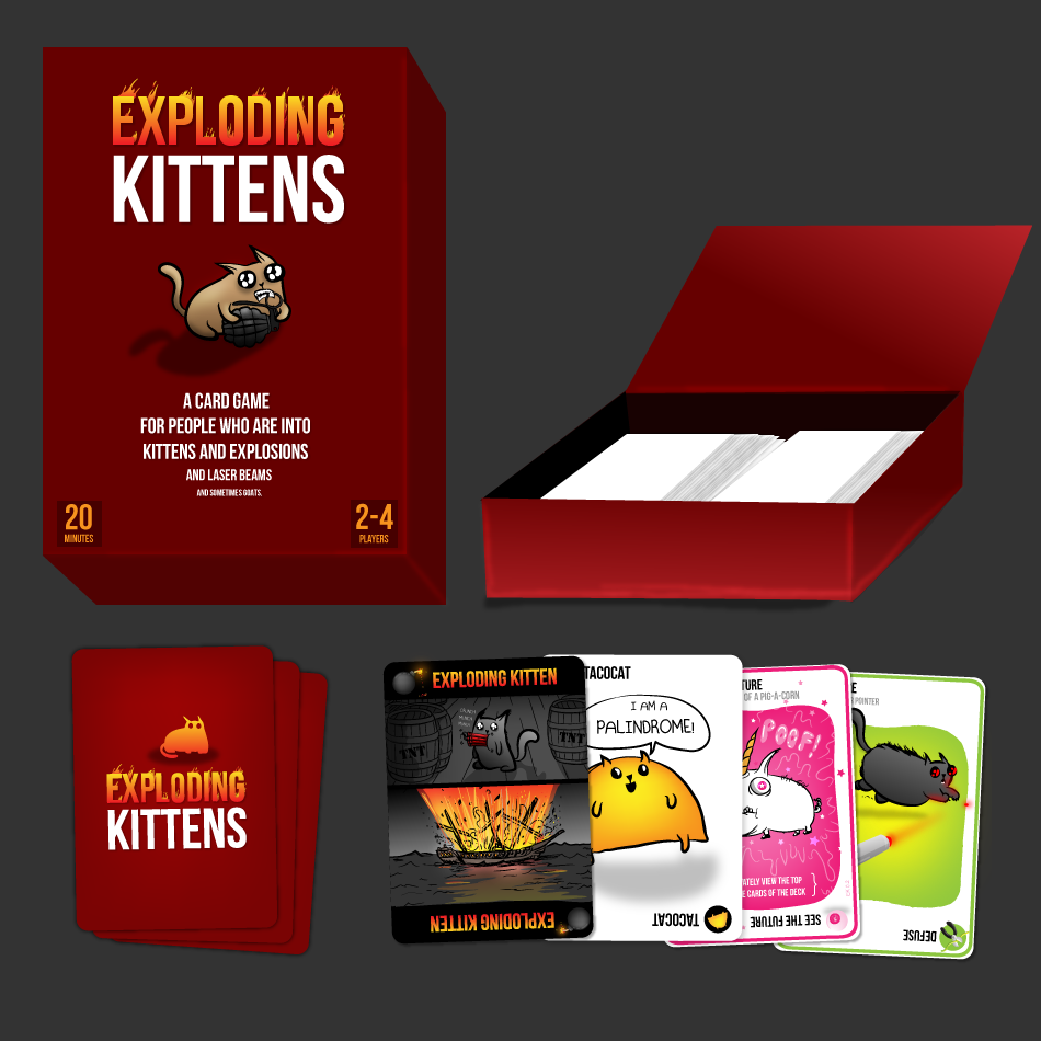 The Game Is Essentially Russian Roulette You Draw Cards Until You Draw A Kitten At Which Point You Lose Exploding Kittens Exploding Kittens Card Game Kittens