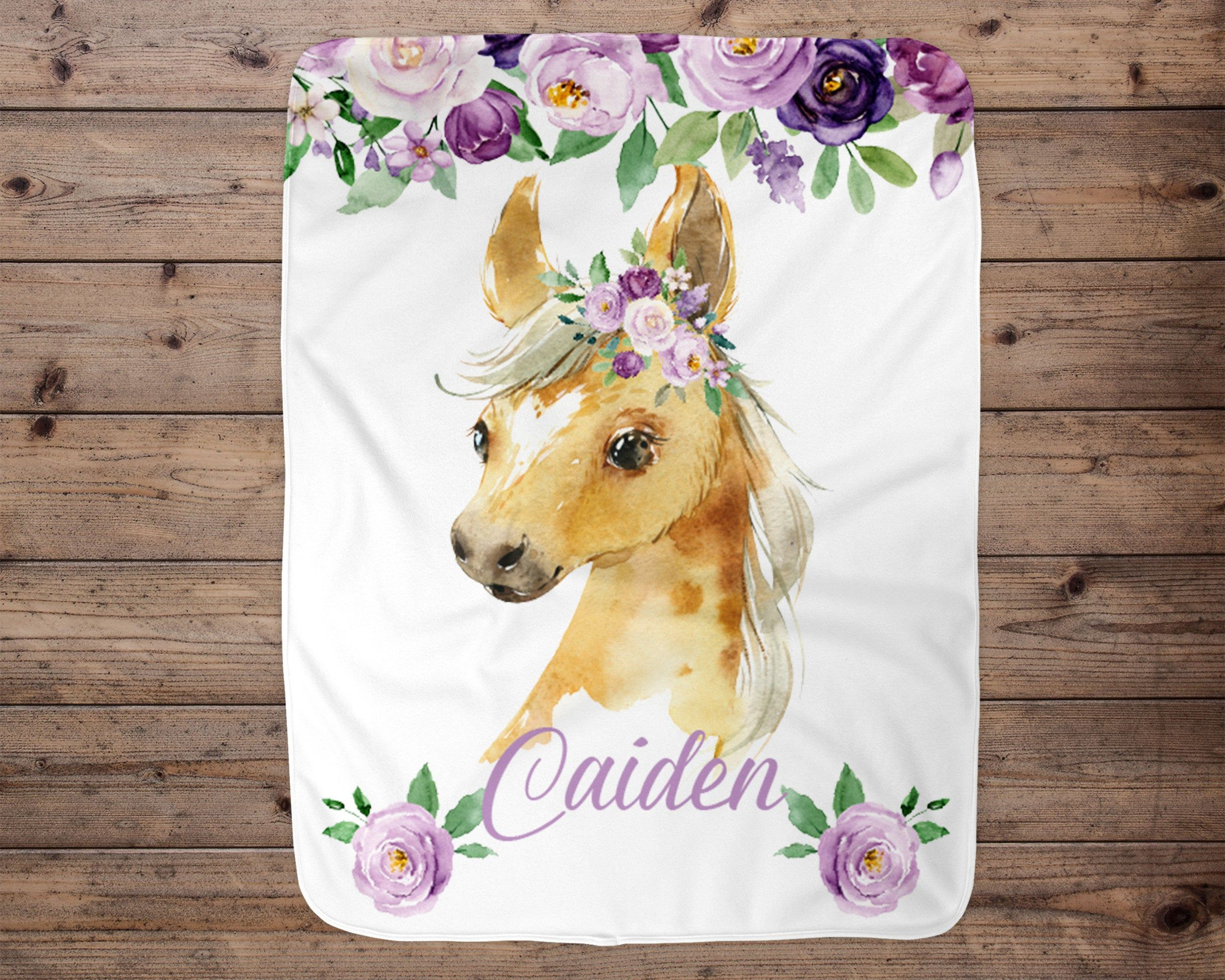 Baby girl horse blanket wild horses blanket choose colors personalized horse baby gift horse baby blanket personalized horse blanket