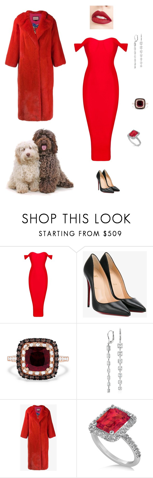 """""""Red"""" by karen-style ❤ liked on Polyvore featuring Christian Louboutin, Effy Jewelry, Blue Nile, Gucci, Allurez, Jouer and blinddate"""