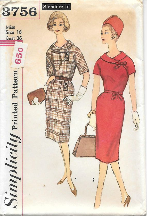 1960s Mad Men Wiggle Dress Simplicity 3756 Sewing Pattern, offered on Etsy by GrandmaMadeWithLove