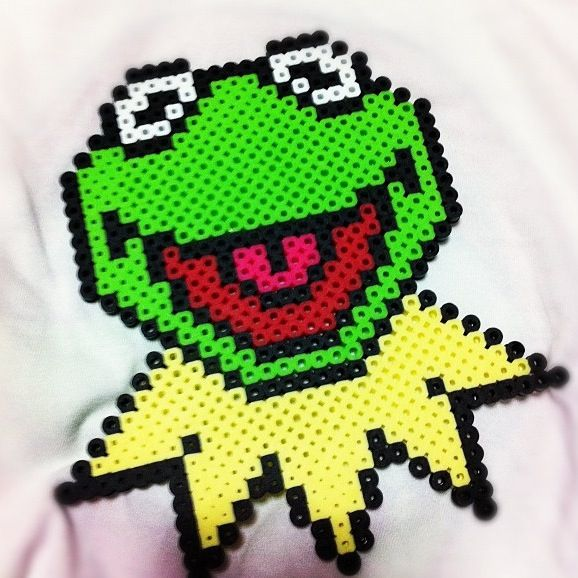 Kermit perler beads by Erin Grady