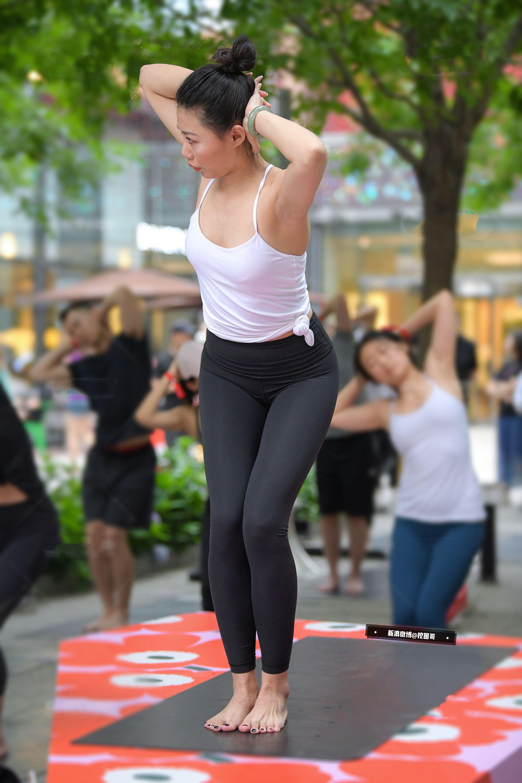 Asian girls in yoga pants