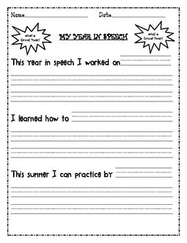 freebie speech therapy end of the year reflection sheet work pinterest. Black Bedroom Furniture Sets. Home Design Ideas