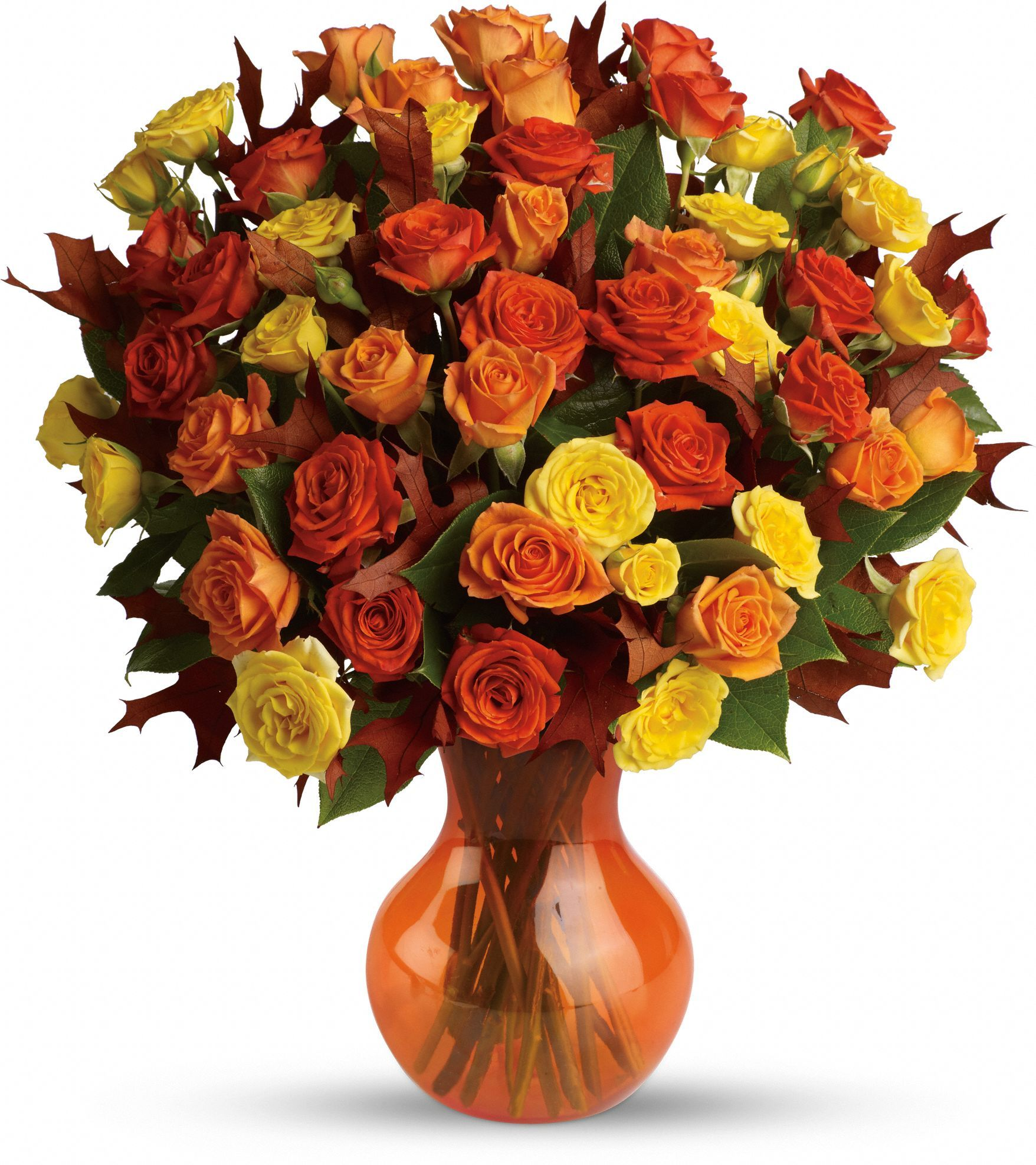 Telefloras fabulous fall roses fall flower arrangements telefloras fabulous fall roses flowers natural amber comes in every shade of gold and this striking display of fresh spray roses in autumns favorite izmirmasajfo