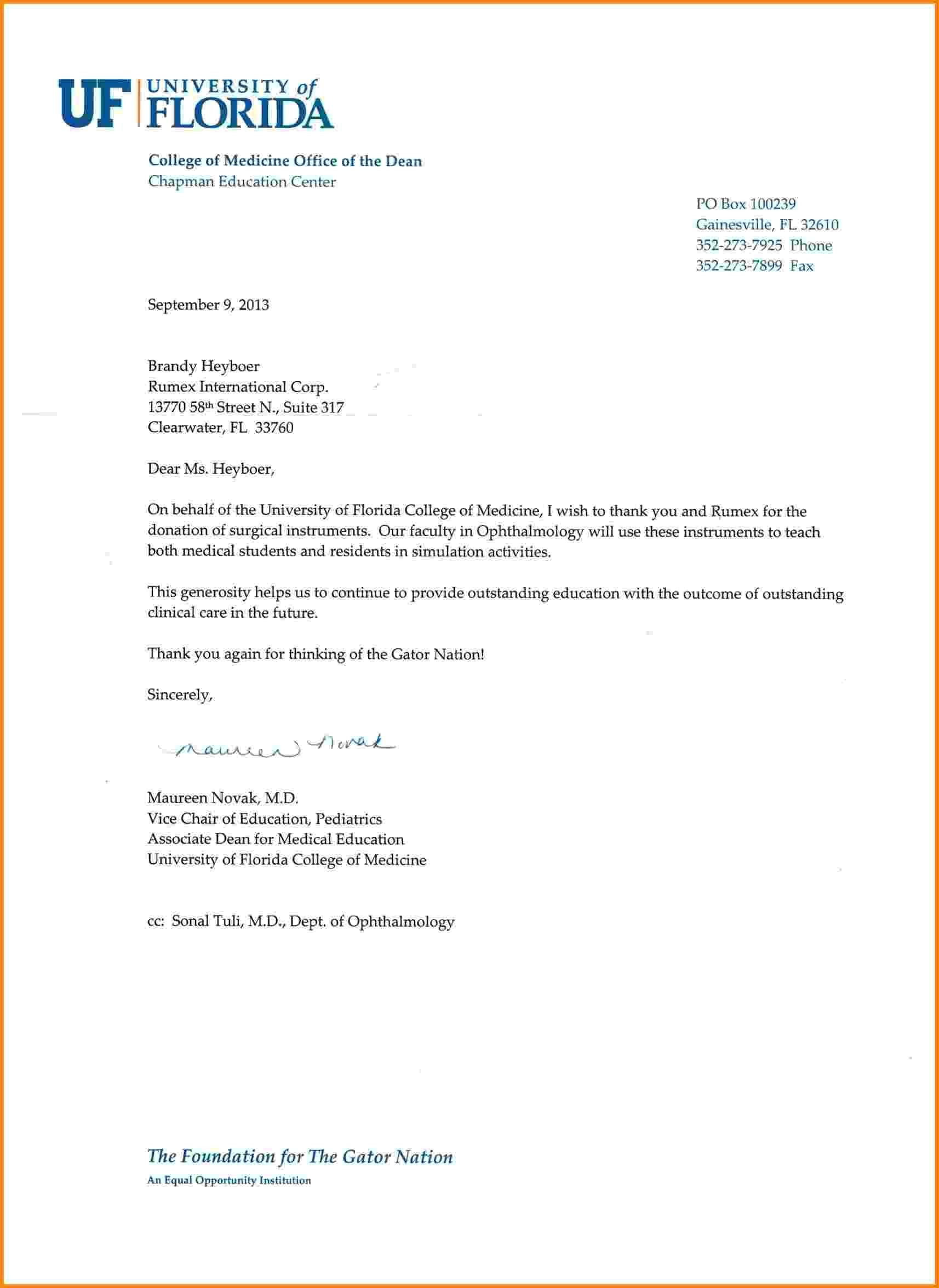 Appreciation Letter to Scholarship Donor New Thank You