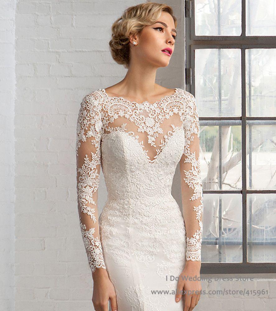 New-Design-Illusion-Lace-Wedding-Dresses-Mermaid-Long-Sleeve-Bridal ...