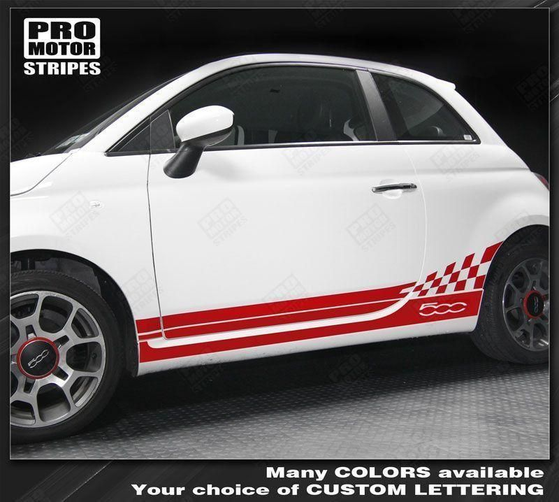 Fiat 500 Upper Body Side Stripes Decals 2007 2008 2009 2010 2011 Pro Motor