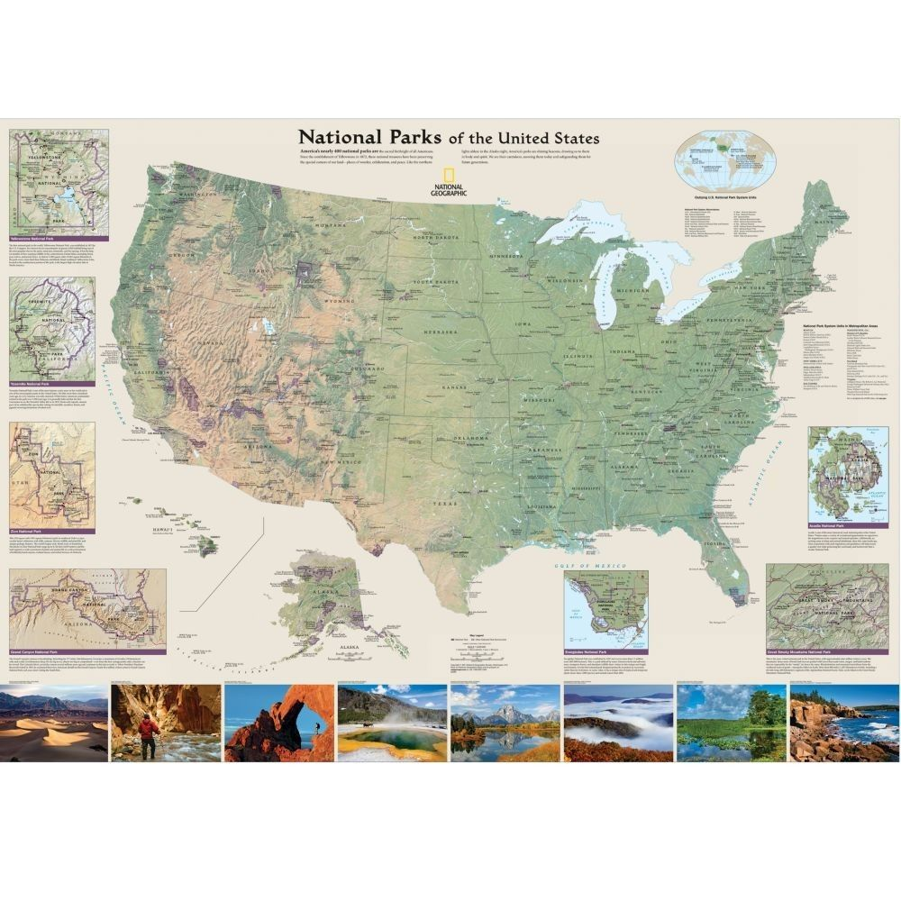 National Parks Of The United States Map Folded  X - Map of us national parks poster