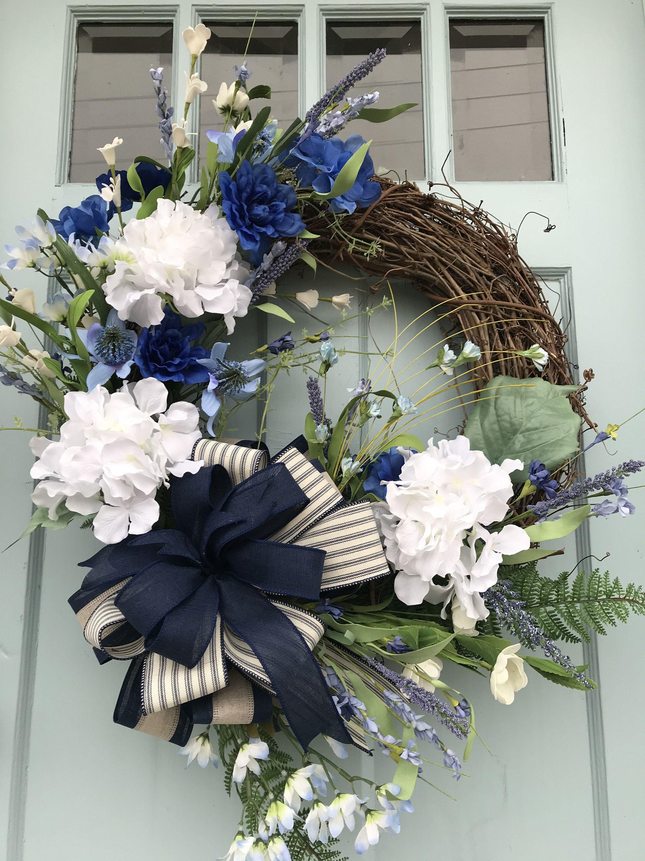 Photo of Farmhouse Blue Hydrangea Grapevine Wreathfor Door, Wreaths, wreaths for front door,  farmhouse wreaths, navy Blue Wreaths, grapevine wreaths