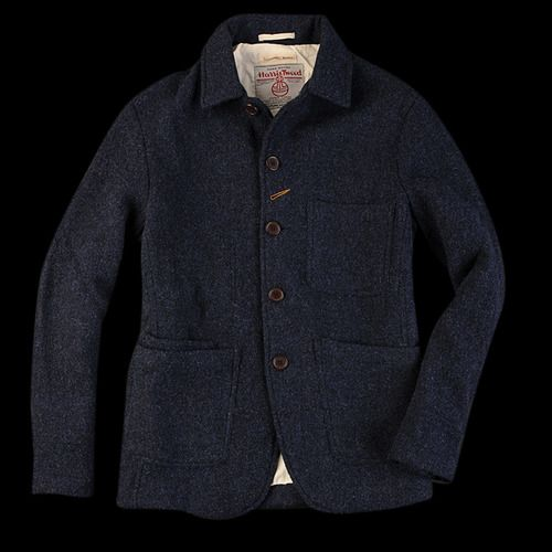 Universal Works Harris Tweed Bakers Jacket - Patch pocket inside patch pocket (patch pocket inception) - Harris Tweed - Random Buttonhole - Pure Warmff What else do you need for the winter time? If youre going to do workwear, cant go wrong with navy Harris Tweed in a solid make-up.