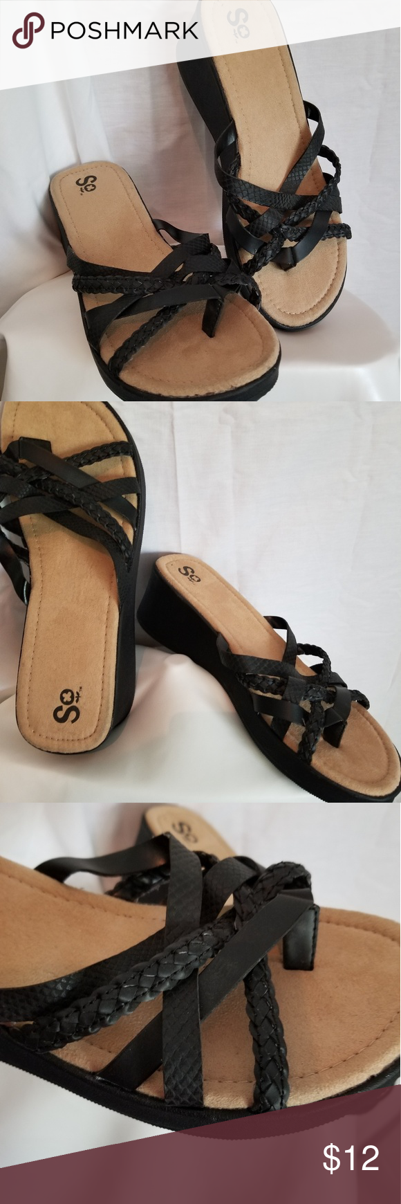 3df4aff06925 Black Sandals by SO In brand new condition