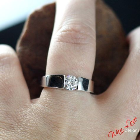 Moissanite Solitaire Tension Set Engagement Ring By Wanlovedesigns