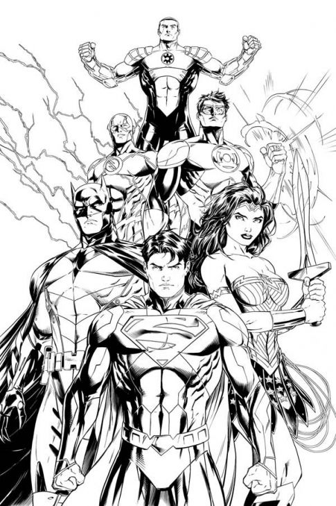 Silver Age Of Justice League Of America Coloring Page Coloriage Super Heros Tatouages Marvel Dessin A Colorier