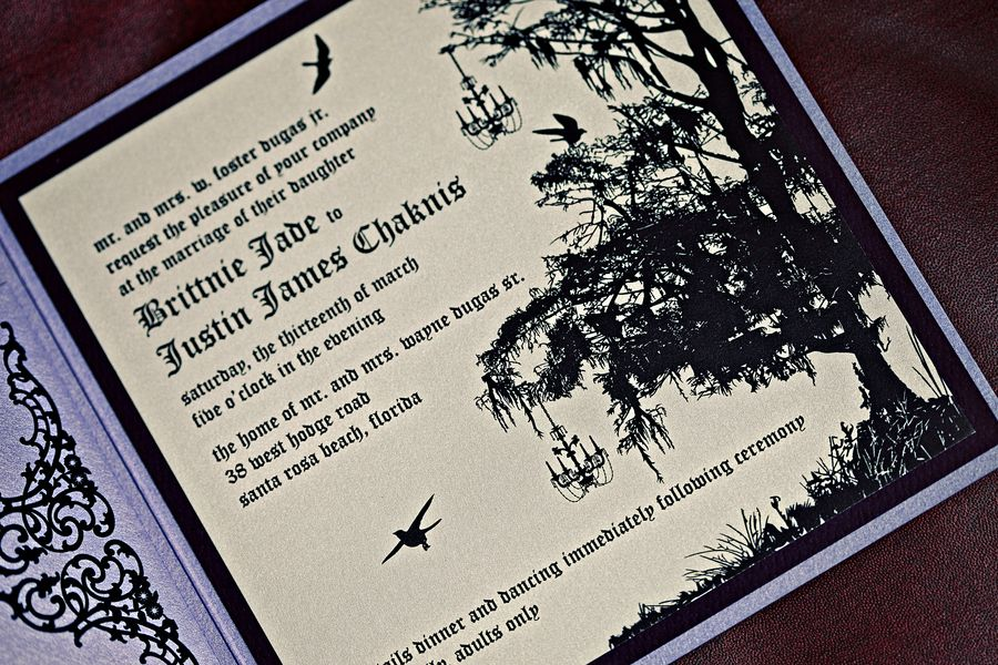 Enchanted Forest Themed Wedding Invitations: (I Would) Take Out The Birds And Add Oversized Flowers