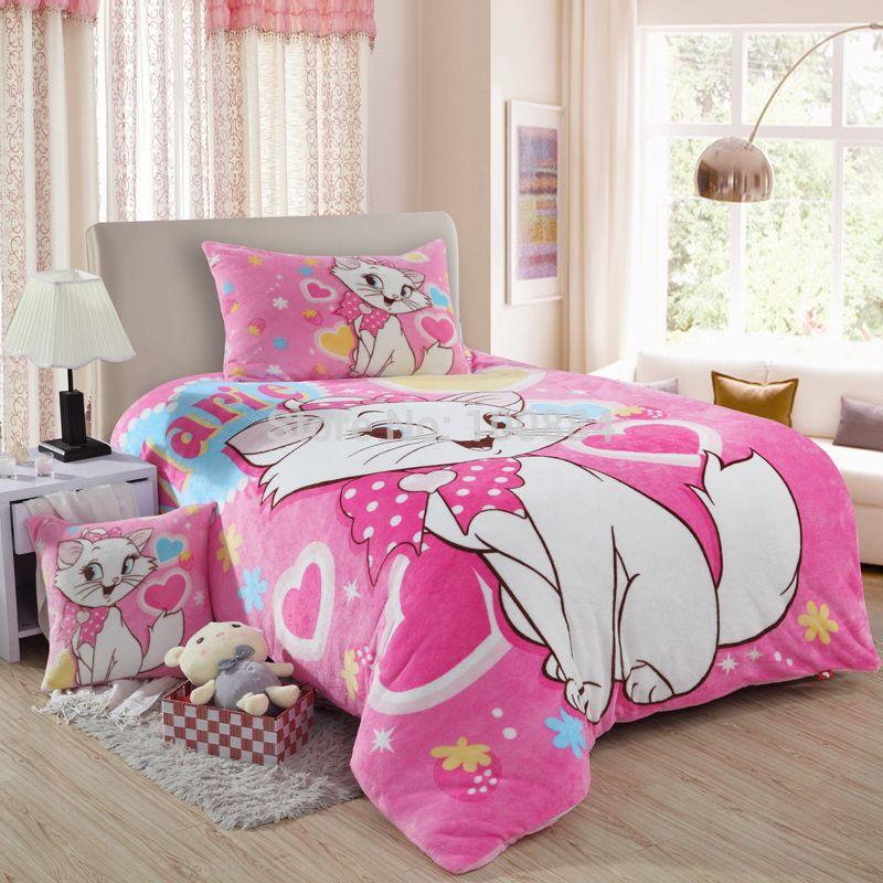 Coral fleece cat print kids bedding set,3pc bed sheet sets