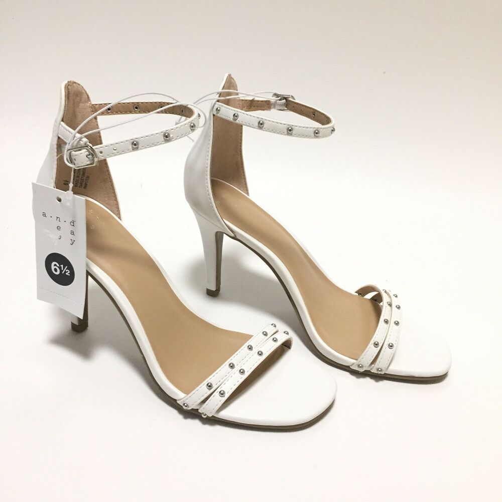 3a07b39f2921 A New Day Enya White Studded Strappy Pumps  Anewday  PumpsClassics