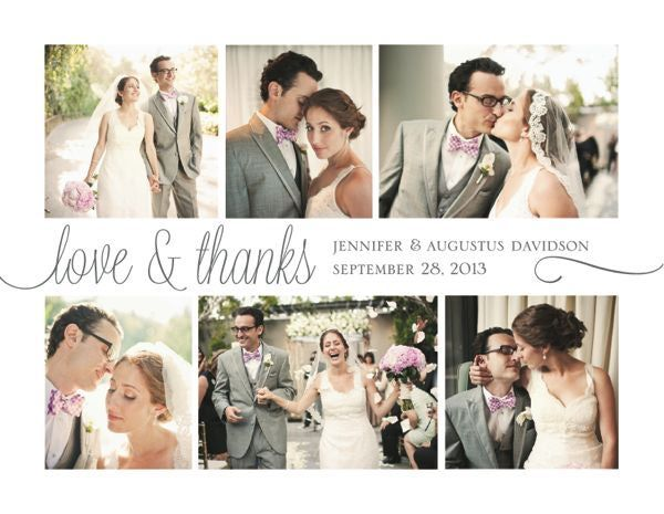 Cream Printable Wedding Thank You Photo Collage - Custom Cards by ...
