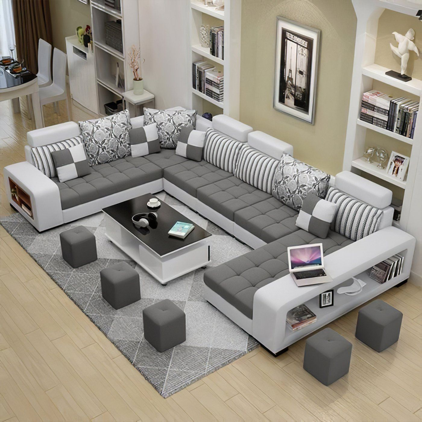 Selena Dark Grey Light Grey Sectional With Chaise Furniture Design Living Room Luxury Sofa Design Living Room Sofa Design