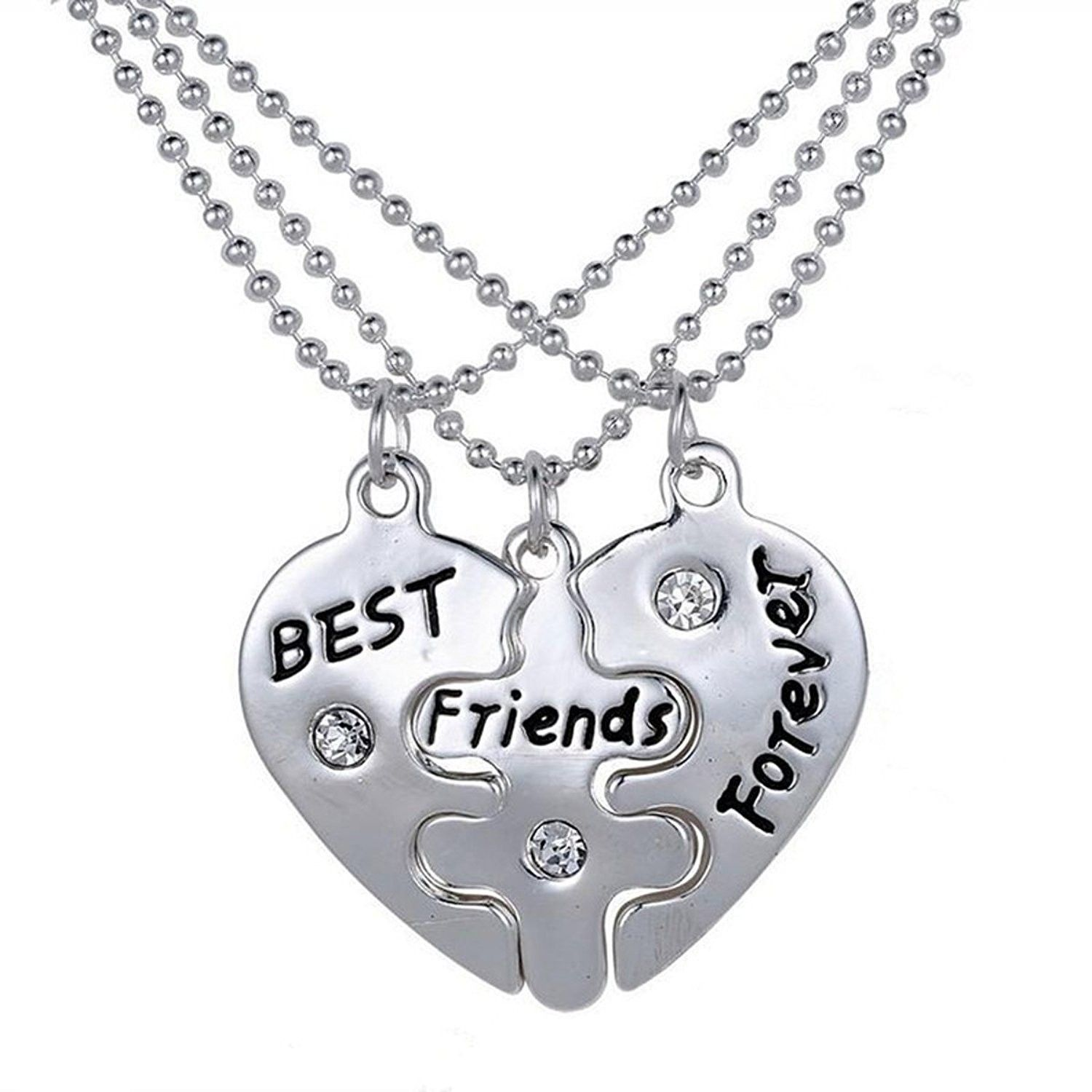 Silver Tone Best Friends Forever Three Piece Pendant Necklace