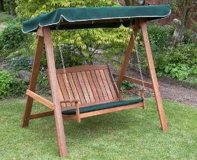 new swinging summer 2 seater wooden garden hammock hardwood swing seat 2 seater hardwood swing hammock with canopy   garden furniture and      rh   pinterest
