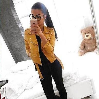 eef370c95f7 Yellow faux leather women s jacket