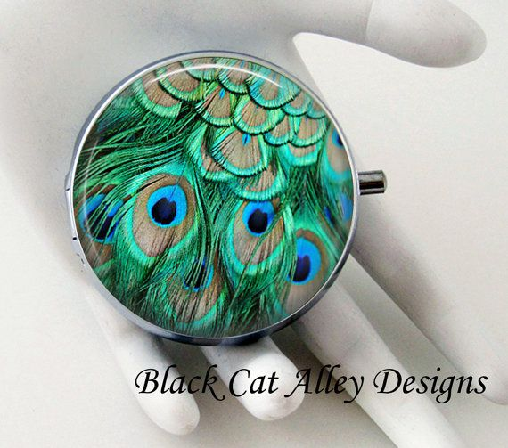 Peacock Feathers Decorative Pill Box Pill By BlackCatAlleyDesigns Cool Decorative Pill Boxes