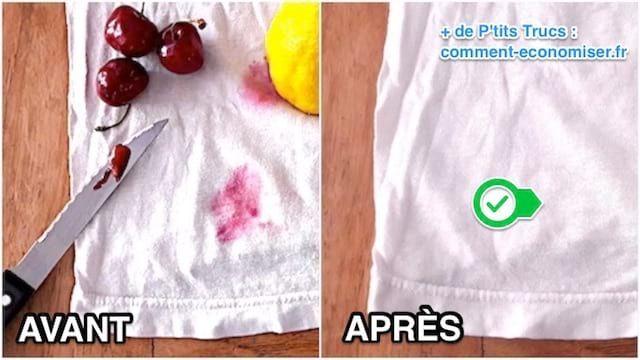Taches De Fruits Rouges L Astuce Testee Et Approuvee Pour Les Faire Disparaitre Sans Frotter Avec Images Tache Detacher Linge Astuces