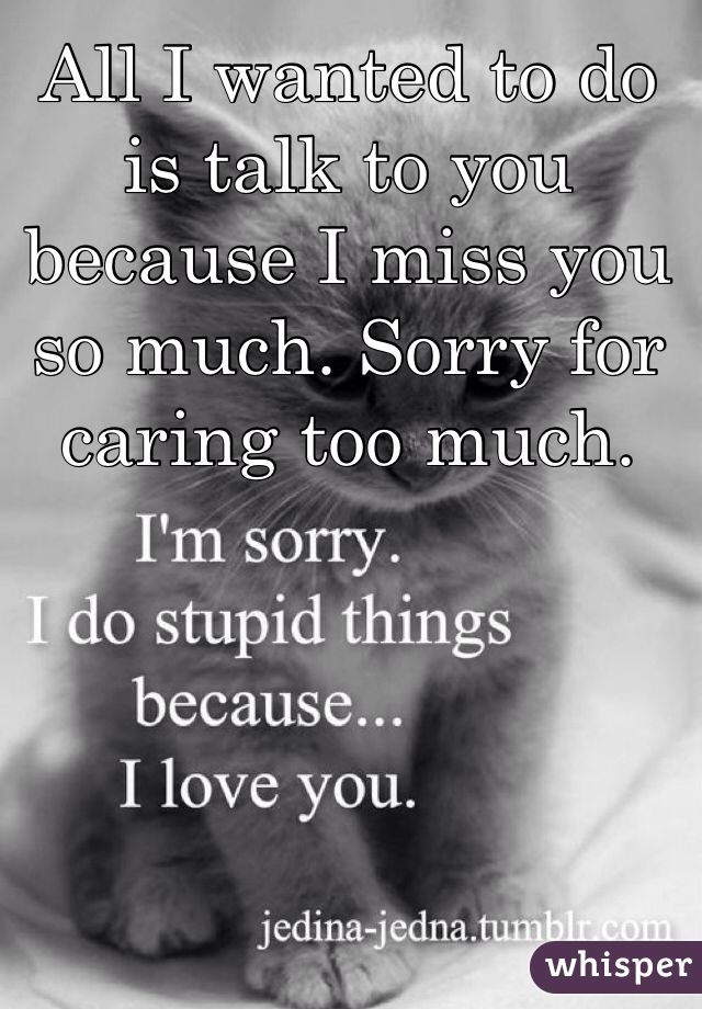 All I wanted to do is talk to you because I miss you so much