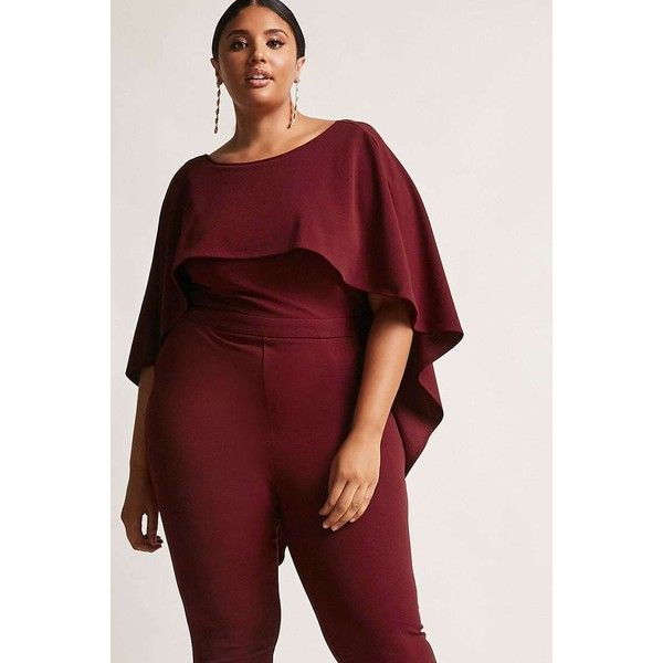 0e4e4b5e5b47 Forever21 Plus Size Cape Jumpsuit ( 38) ❤ liked on Polyvore featuring plus  size women s fashion