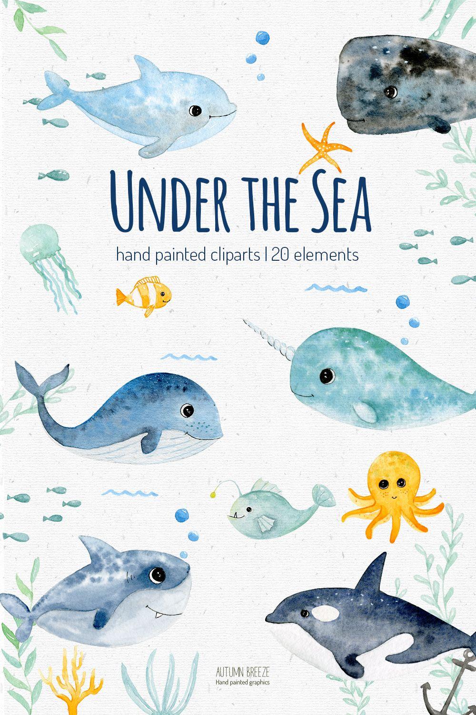 Under the sea watercolor clipart, underwater creatures