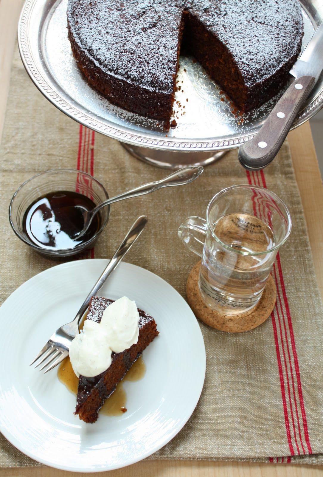 gluten free gingerbread cake with bourbon-vanilla bavarian cream and caramel sauce