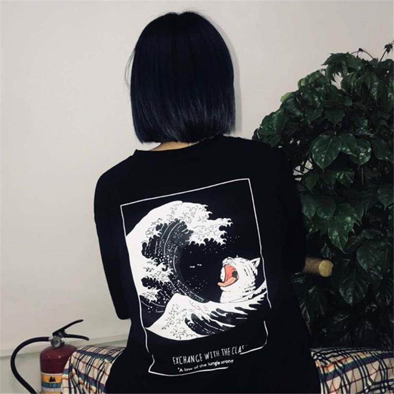 Great Wave Back Print Oversized Black T Shirt Oversized Black T
