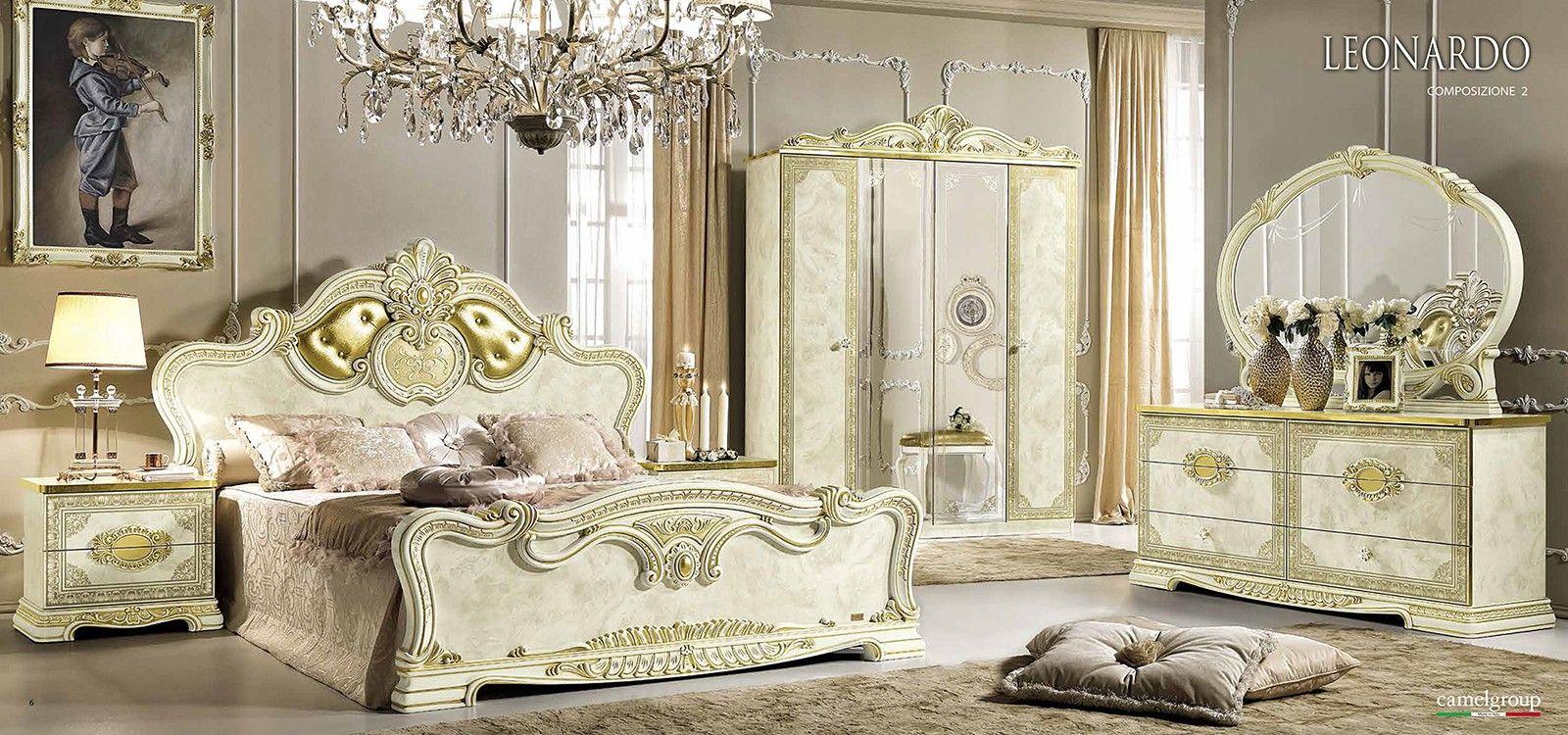 Esf Furniture Leonardo 4 Door Wardrobe In Ivory Classic Bedroom