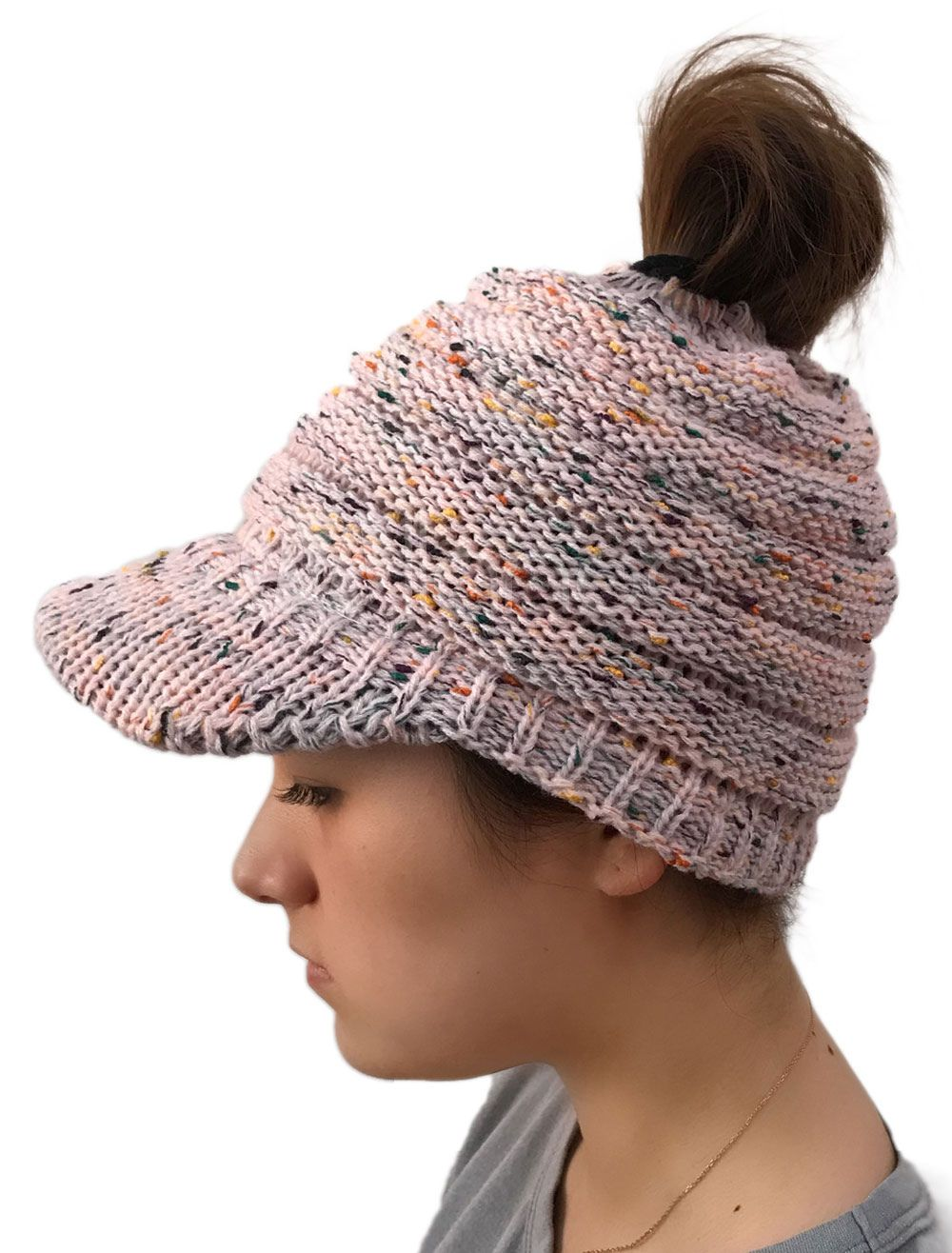 0d4b9998c4450 Ponytail Beanie Hat Chunky Knit Messy Bun Cap Warm Winter Visor Hat   Chunky