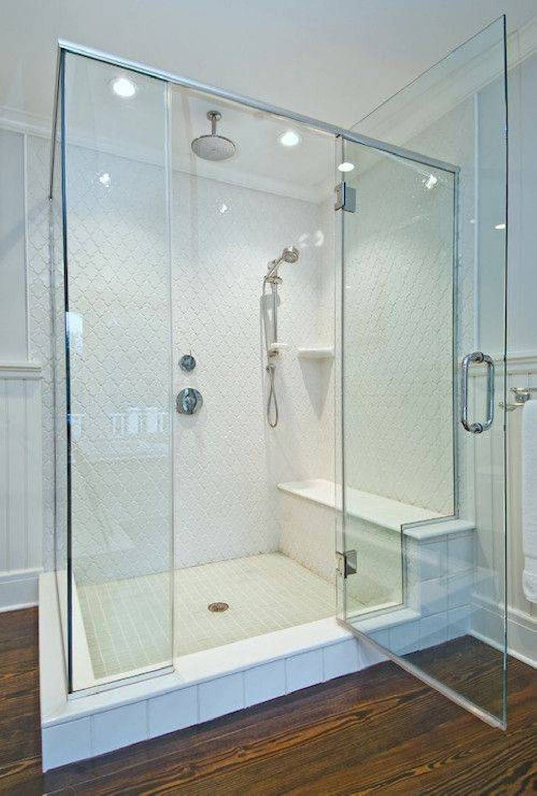 walk in shower w/ glass doors and seats | Walk In Shower ...