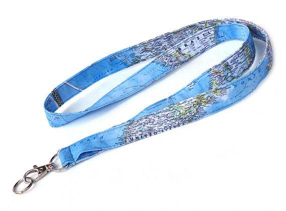 World Map Lanyard. Key Lanyard. Fabric Lanyard. ID Holder. Fashion Accessories. Fashion Gifts. Holiday Gifts. For Traveler.