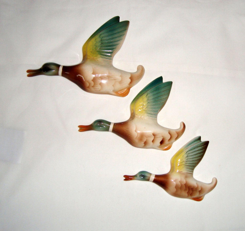Set Of Three Keele Street Pottery 1950s Mallard Duck Wall Plaques