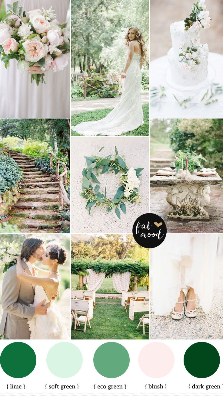 Slate blue wedding decor  Nature garden wedding theme  Shades of green  blush  white