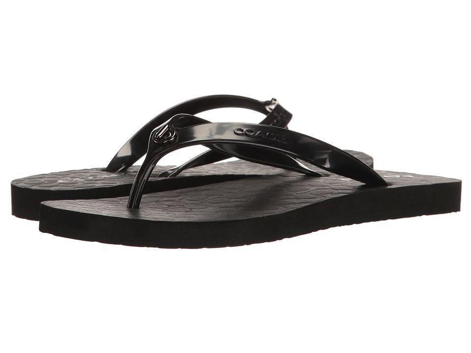 995eafe78 NEW Women s Coach Abbigail Chalk Thong Flip Flop Sandals Size 10 Black NWOB  B2  Coach  FlipFlops  Casual
